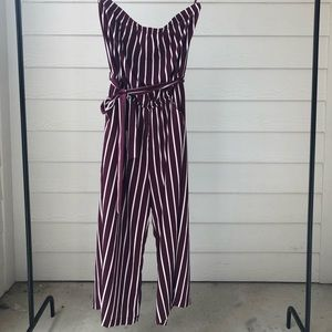 Maroon & White Striped Jumpsuit